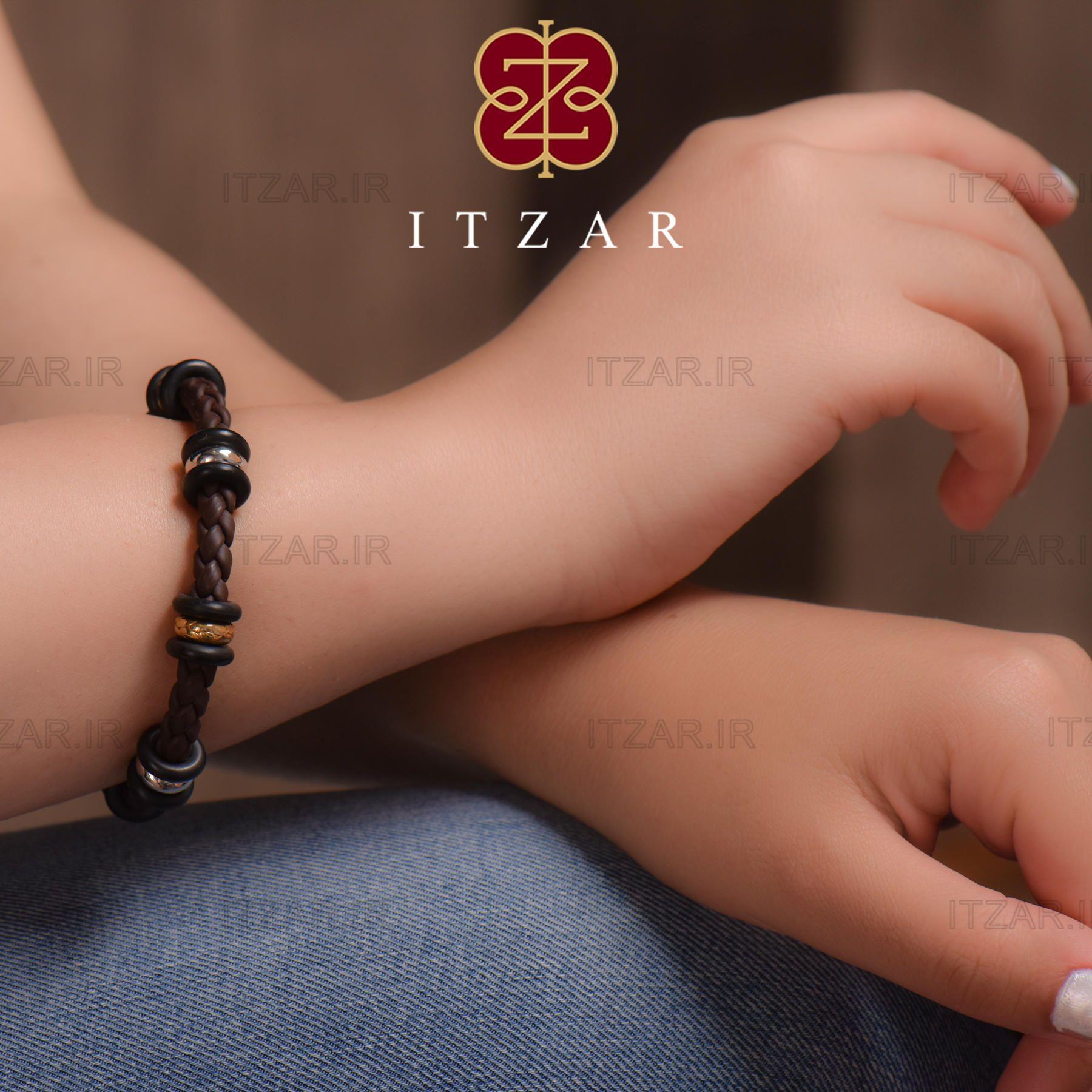 دستبند ترکیبی طلا و چرم مصنوعی